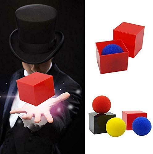 Wrth Magic Box in and Out Box with 3 Sponge Balls Magic Trick Performance Parties Props