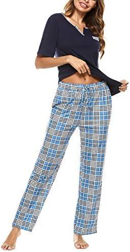 Women's Pajamas Set V-Neck Cotton Short Sleeve Sleepwear Long Pants Plaid Nightwear Soft Pjs Lounge Sets with Pockets S-XXL