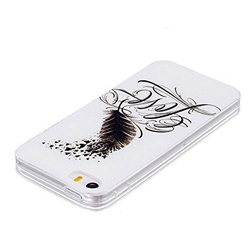 Soft IMD TPU Tasche Hüllen Schutzhülle - Cover Case für iPhone SE/5s/5 - Feather Pattern