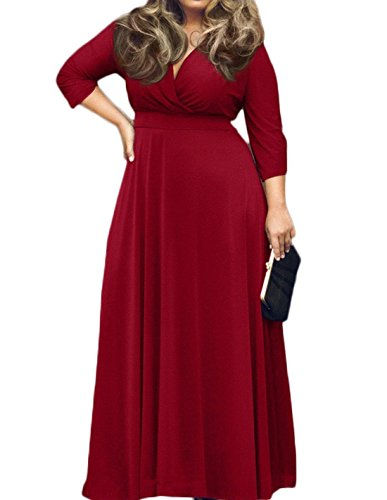 POSESHE Women's Solid V-Neck 3/4 Sleeve Plus Size Evening Party Maxi Dress (XXXXL, Wine Red) (Best Mobile Stock Charts)