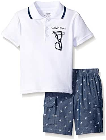 Calvin Klein Baby Boys' Interlock Top with Woven Shorts
