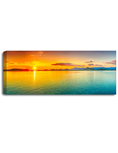 (DECORARTS - Canvas Prints Wall Art -Sunrise Over The sea.Giclee Print on Canvas for Wall Decor.30x12x1.5)