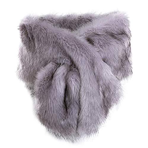 Silver Fur (Women Long Faux Fur Shawl Bridal Stole Cover Up Winter Soft Bolero Scarf Silver Grey)