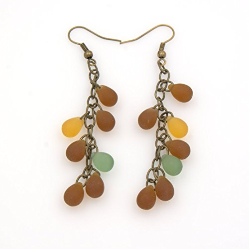 Bead Mix Matte - Earthy Tear Drop Earring - Nature Mix Matte Glass Beads, Antique Brass Plated Cable Chain, 2.5-in