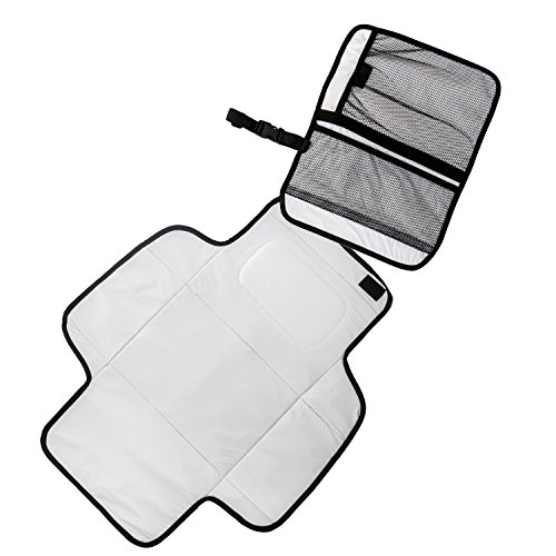Large Product Image of Aautoo Baby Portable Changing Pad Diaper Changing Station Built-in Head Cushion Velcro Tab Portable Travel Diapering Essentials Kits