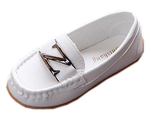 Lukis Kinder Schuhe PU Mokassins Freizeitschuhe Slipper Bootsschuhe Weiß