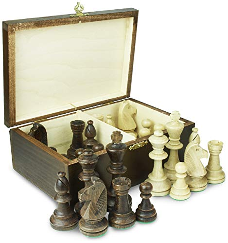 SUNRISE Sp Handmade European Wooden Chess Set with Score-Book, Hand Carved Chess Game Pieces, and Wood Storage Case