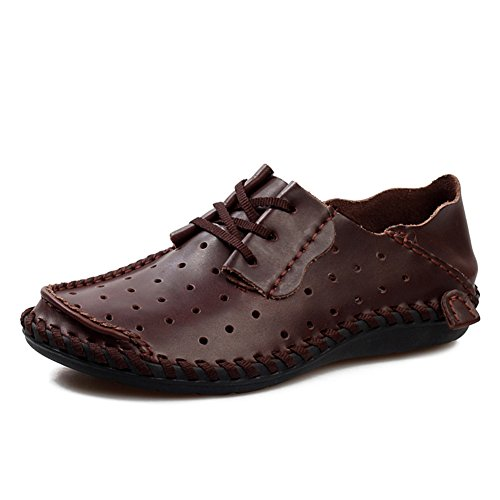 Casual Da Uomo Casual In Pelle Sutura Fatta A Mano Lace Up Mocassino Outdoor Scarpe Marrone Scuro Punzonato 40