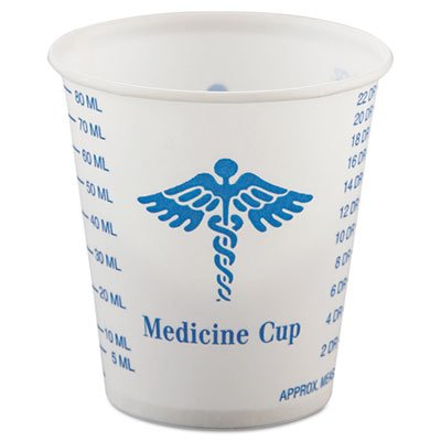 """SOLO Cup Company """"Paper Medical & Dental Graduated Cups, 3oz, White/Blue, 100/Bag, 50 Bags/Carton"""" 50 packs of 100 cups each Unit of measure: CT, Manufacturer Part Number: SCC R3"""