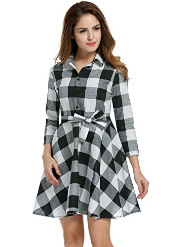 Zeagoo Women Lapel 3/4 Sleeve Plaid Belted Casual Swing Shirt Dress (Large, White) - Plaid Dress Shorts