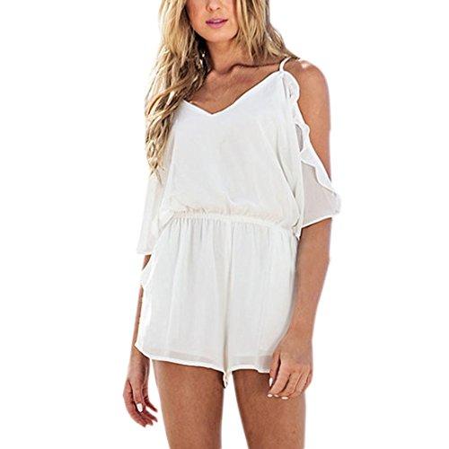 SHOBDW Jumpsuit Frauen beiläufige weiße feste Chiffon- Camis reizvoller Backless Overall Weiß STbelYJIC