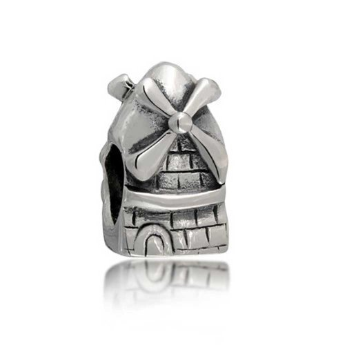 Tower Windmill (Dutch Windmill Tower Travel Themed Bead Charm .925 Sterling Silver)
