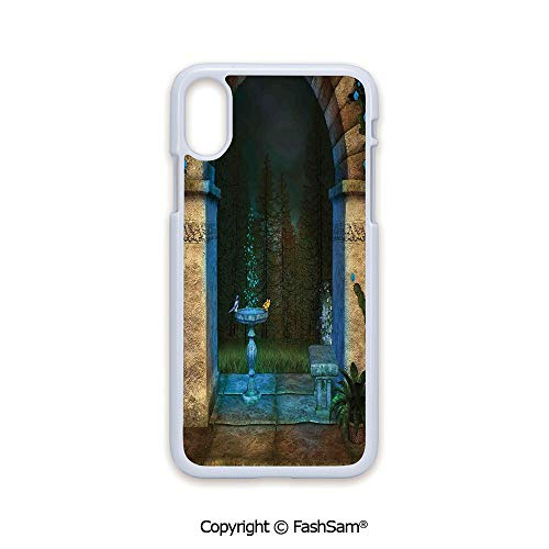 Fashion Printed Phone Case Compatible with iPhone X Black Edge Forest Landscape from Ancient Archway Birds on Fountain Fairytale Illustration 2D Print Hard Plastic Phone -