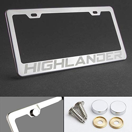 UFRAME 100% Stainless Steel License Plate Frame for Toyota Highlander with Real Laser Engraving on Chrome Mirror Finished Surface