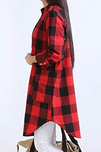 Grazioso Tops Tempo Reticolo Da Autunno Libero Lunga Donna Camicetta Button Irregolare Boscaiolo Accogliente Eleganti Fashion Primaverile Rosso Shirts Manica Blusa Camicia zGSpVqUM