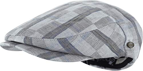 Golf Newsboy Driving - Men's Thick Cotton Summer Newsboy Cap SnapBrim Ivy Driving Stylish Hat (Gray Plaid-4022, S/M)