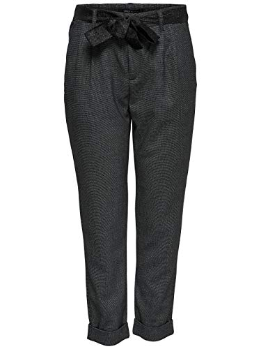 Only Pantalone 15162997 Rita con Pinces e Cinturino in Lurex Antracite