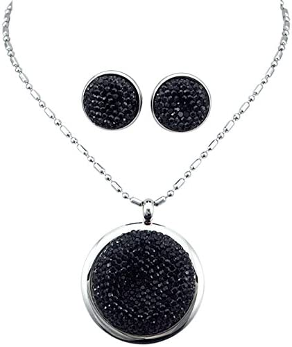 Trendy Big Black Stone Jewelry Set for Women Silver Color Stainless Steel Round Earring+Pendant Necklace Sets Hyperbole