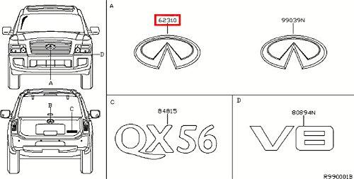 (Infiniti Genuine Miscellaneous Emblem & Name Label Front Emblem 62890-ZQ10A QX56 )