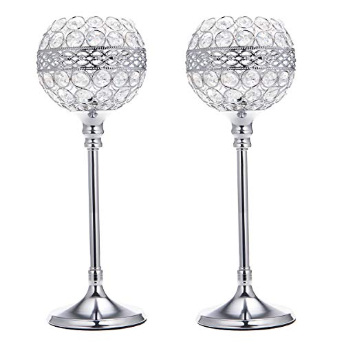 (ManChDa Valentines Gift Silver Crystal Bowl Candle Holder Set of 2 for Dining Room Flange Decorative Centerpieces Modern House Decor Gifts for Anniversary Celebration)
