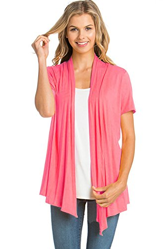 12 Ami Basic Solid Short Sleeve Open Front Cardigan Coral Extra Large