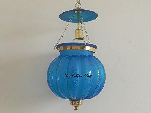 IndainShelf Handmade Decorative Turquoise Melon Glass Hanging Crystal Celling Lamp Chandelier