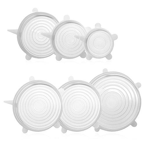 GA Homefavor Set di 6 Coperchi in Silicone Estensibili Per Ciotole, Contenitori, Tazze. Riutilizzabili e BPA-Free G.a HOMEFAVOR