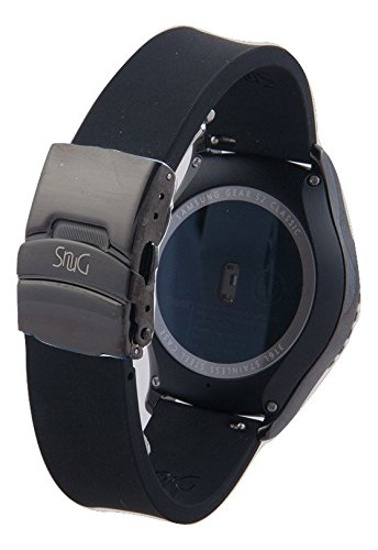SnuG Watchbands Samsung Gear S2 classic 20mm Replacement Smart Watch Band fits Samsung Gear s2 CLASSIC only- Quick Release - with Black Stainless Steel Deployant Buckle (Black with Black Buckle)