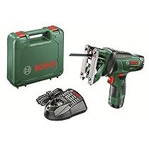 Bosch EasySaw 12 - Sierra multiuso a batería con maletín, batería 2.5 Ah, 12 V, color negro y verde