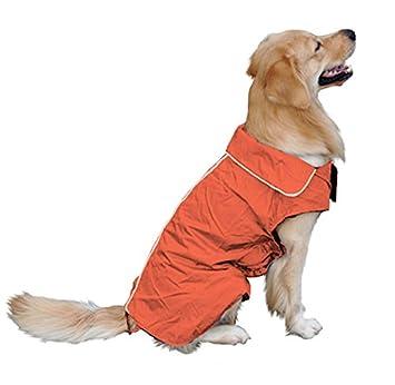 Impermeable, perro, mascota, impermeable, impermeable, impermeable, chaqueta de seguridad, para la noche, cálido forro polar forrado, protector de pecho para perros pequeños, medianos y grandes naranja-L FOSINZ Pet-A192-Orange-L