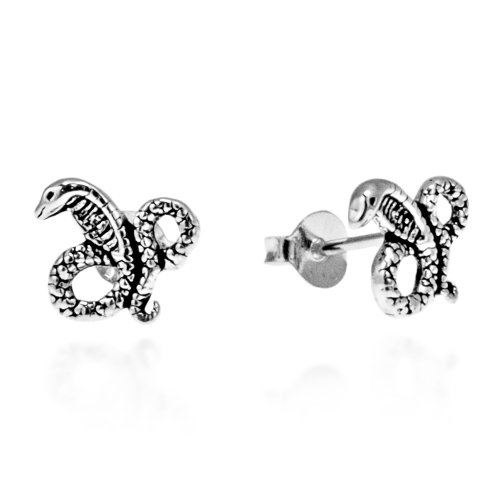 ra Snake .925 Sterling Silver Stud Earrings ()