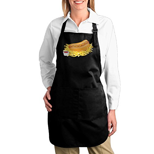 Ketchup Costume Target (HELEN.KOCO Hot Dog With Ketchup Adjustable Home Kitchen Cooking Pocket Apron With 2 Pockets - Adjustable Neck Strap)