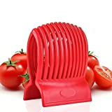 VNDEFUL Multiuse Tomato Slicer Holder,Potatoes Round Fruits Vegetables Tools Kitchen Cutting Aid,Red