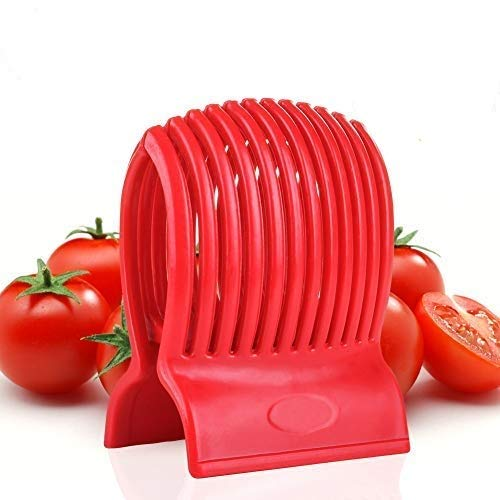 - VNDEFUL Multiuse Tomato Slicer Holder,Potatoes Round Fruits Vegetables Tools Kitchen Cutting Aid,Red