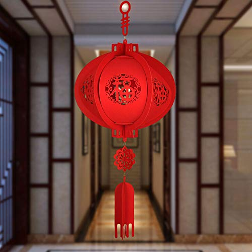 WDDH Chinese Traditional Red Lanterns,Lucky Hanging Lanterns Decoration- Spring Festival Hang Mini Lantern for Chinese Spring Festival and Celebration Chinese Character Candle Lantern