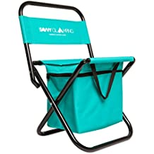 Mini Portable Folding Chair w/ Built In Cooler - Compact, Stylish and Easy to Carry Outdoor Chair for Events, Picnics, Hiking, Tailgating, Parades & More - Includes Bonus Travel Tote Bag