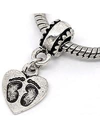 Silver Tone Footprint Dangle Charm Spacer Bead Fits European Pandora Troll Other Type Bracelet
