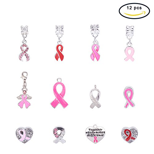 Pink Enamel Breast Cancer Ribbon - PH PandaHall 12 PCS Silver Plated Breast Cancer Awareness Pink Ribbon Dangle Charm European Style Beads Charm