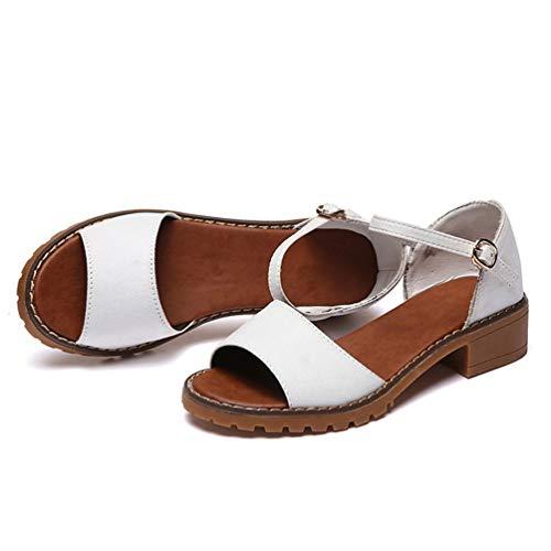 Scarpe Caviglia Sandali Estate alla Tacco Tacchi Scarpe Scarpe Cinturino Lady Eleganti Tacchi Toes Scarpe Spessi Donna Bassi con Peep Scarpe Grosso qx4wq7P1O