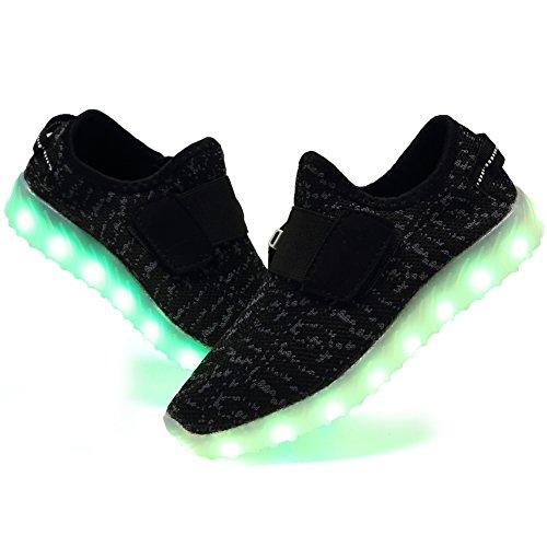 EQUICK Kinder LED Leuchten Schuhe Breathable stricken Kinder Casual Laufschuhe (kleines Kind / großes Kind) Dk.black