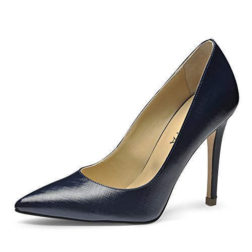 Evita Shoes Alina Damen Pumps Lack mit Prägung Dunkelblau