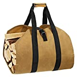 eletecpro Durable Waxed Canvas Firewood Log Carrier Heavy Duty Tote,Fire Place Sturdy Wood Carring Bag with Handles Security Strap for Camping Indoor