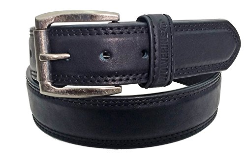 Wolverine Men's Double Topstitched Leather Belt Roller Buckle (38, black)