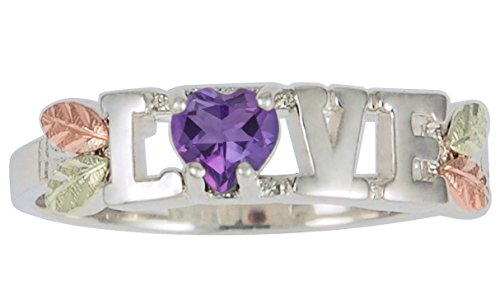 Amethyst Heart 'Love' Ring, Sterling Silver, 12k Green and Rose Gold Black Hills Gold Motif, Size 9 by The Men's Jewelry Store (for HER)