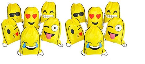 Emoji Drawstring Backpacks Party Loot Bags 12 Count