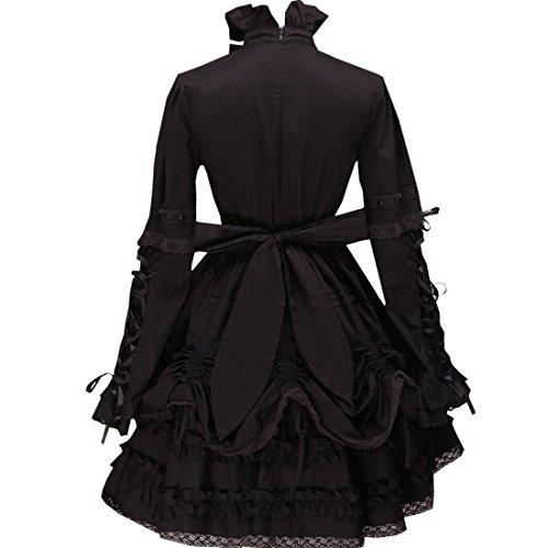 gekraeuselten Partiss Kleid Lolita Gothic Frauen Schwarz 5Ox4aOqvnH