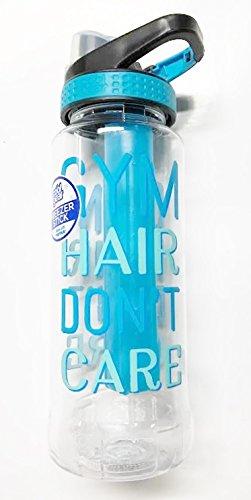 Cool Gear 32 oz. Tritan Avenger EZ Freezer Stick Sport Bottle - Flip Top Chugger Lid - Aqua Blue ''GYM HAIR DON'T CARE'' by Cool Gear