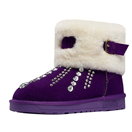 Snow Nubuck Buckle Warm Purple Women's Diamonds Boots HooH xRzqXfw