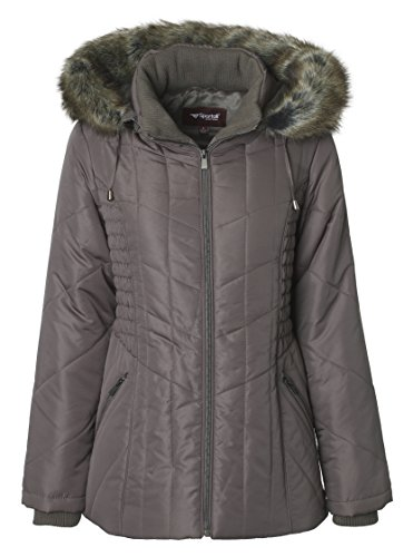 Sportoli Women's Midlength Ruched Detail Plush Lined Puffer Coat with Zip-Off Detacheable Fur Trim Hood - Fog with Polished GunMetal (2X) by Sportoli (Image #2)