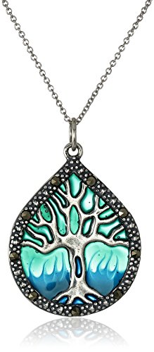 Sterling Silver Genuine Marcasite and Blue Epoxy Tree of Life Pendant Necklace, 18""